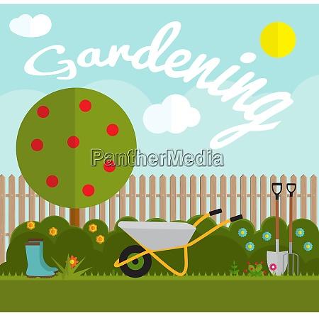 gardening flat background vector illustration garden