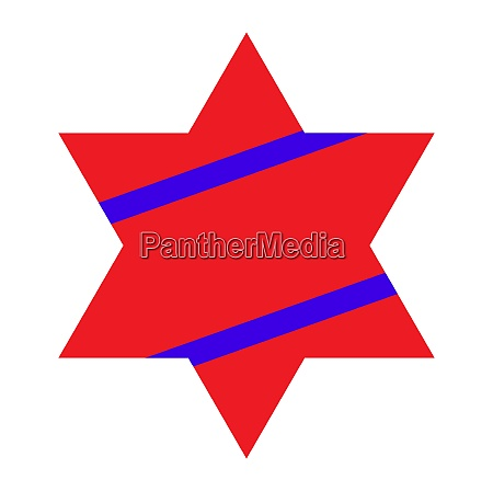red jewish star with blue stripes