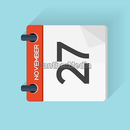 navember 27 calendar flat daily icon
