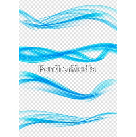 set of abstract blue wave set