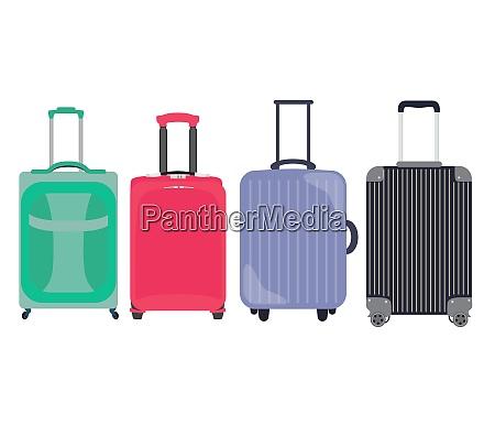 suitcase travel bag flat icon set