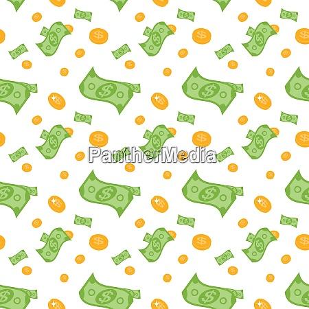 seamless pattern of money bills and