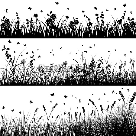 vector grass silhouette background set all