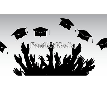 graduates people throw square academic cap