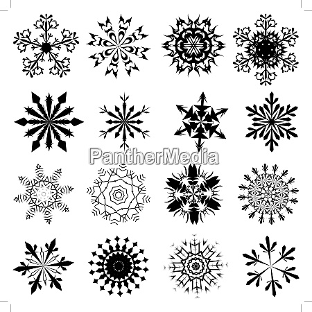 set of winter frozen snowflakes fully