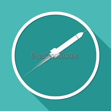 icon rocket on white circle with