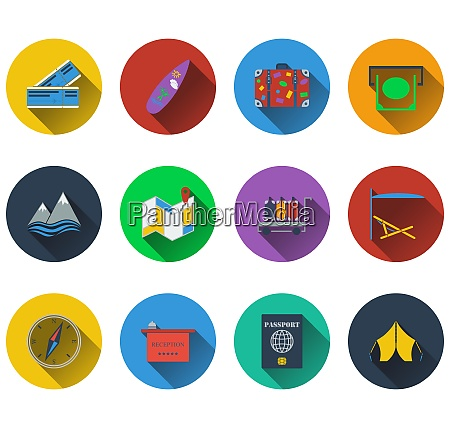 set of travel icons in flat
