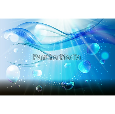 set of abstract blue wave water