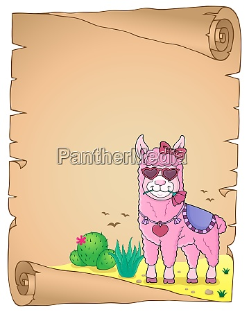 llama with love glasses parchment 2