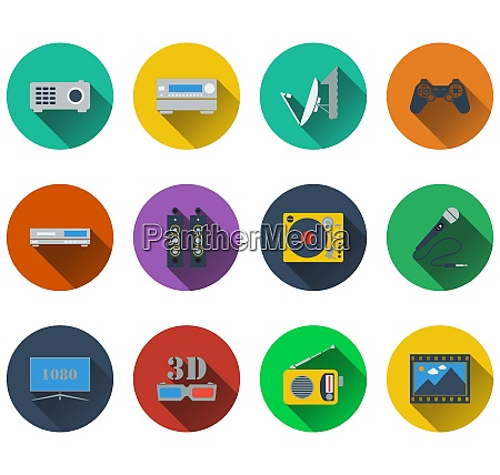 set of multimedia icons in flat