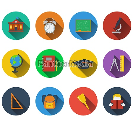 set of school icons in flat