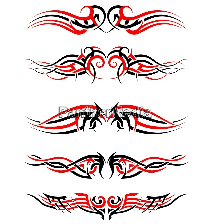 set of tribal indigenous tattoos in
