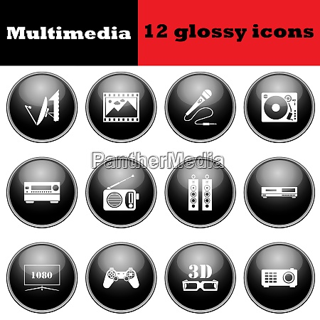 set of multimedia glossy icons eps