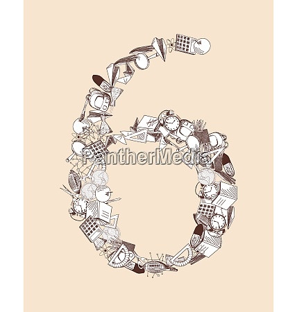 hand drawn alphabet letter with education