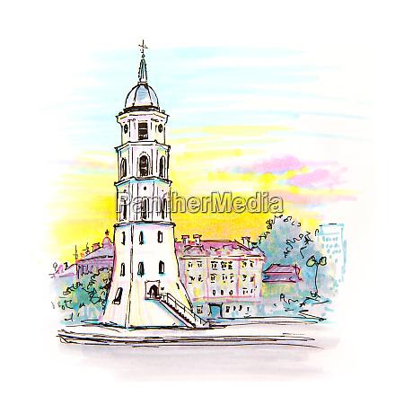 gediminas bell tower in vilnius lithuania
