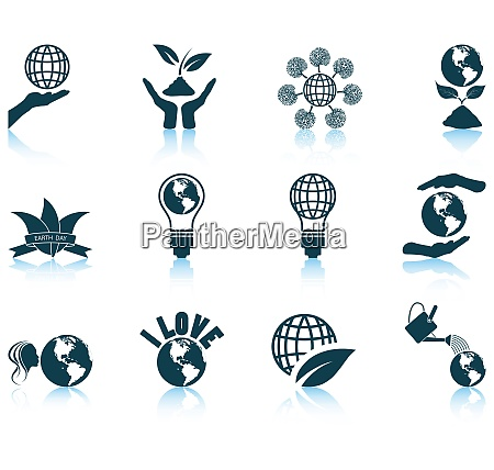 set of twelve earth day icons
