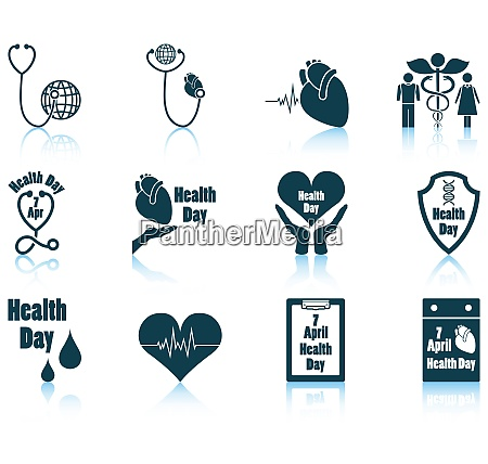 set of twelve health day icons