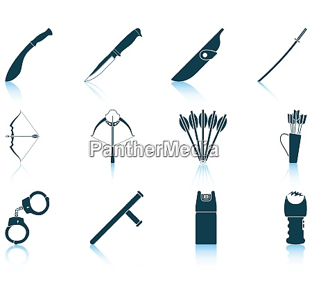 set of twelve weapon icons with