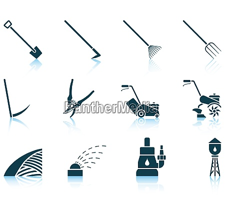set of twelve gardening icons with