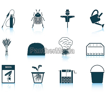 set of twelve gardening icons