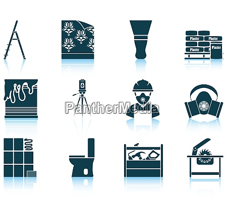 set of twelve flat repair icons