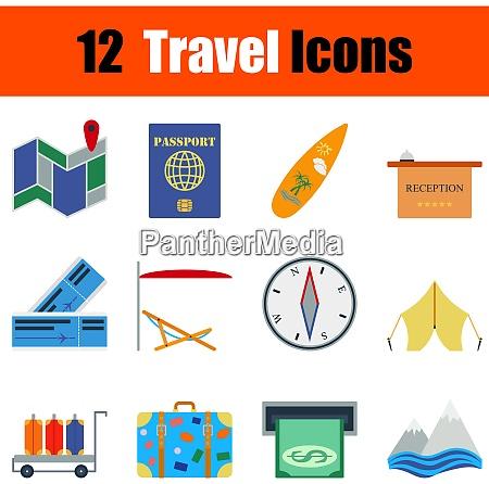 flat design travel icon set in