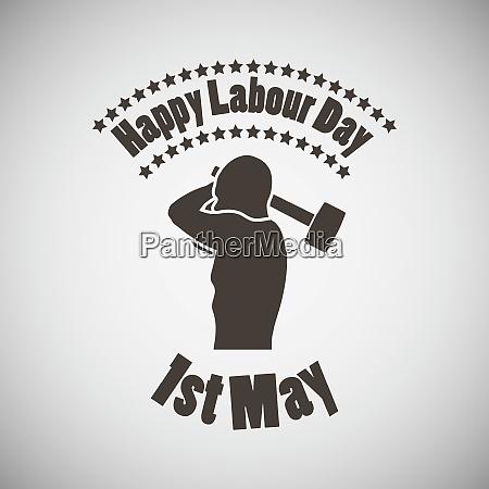 labour day emblem with mans torso