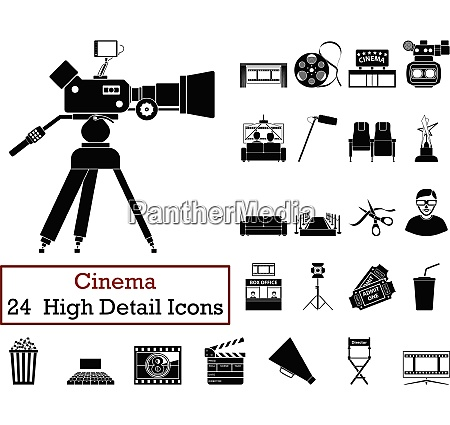set of 24 cinema icons in