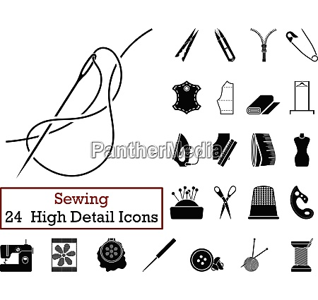 set of 24 sewing icons in