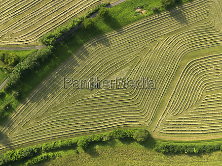 aerial view tractor in patterned green