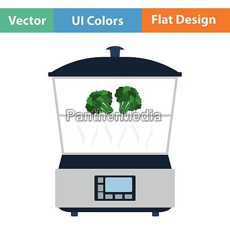kitchen steam cooker icon flat design