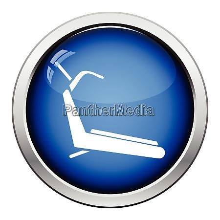 treadmill icon glossy button design vector