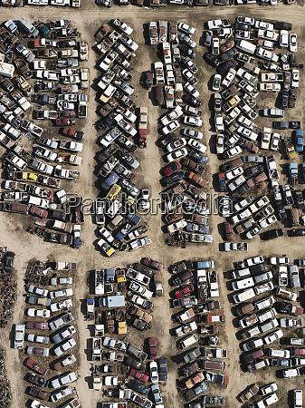 aerial view old cars in junkyard