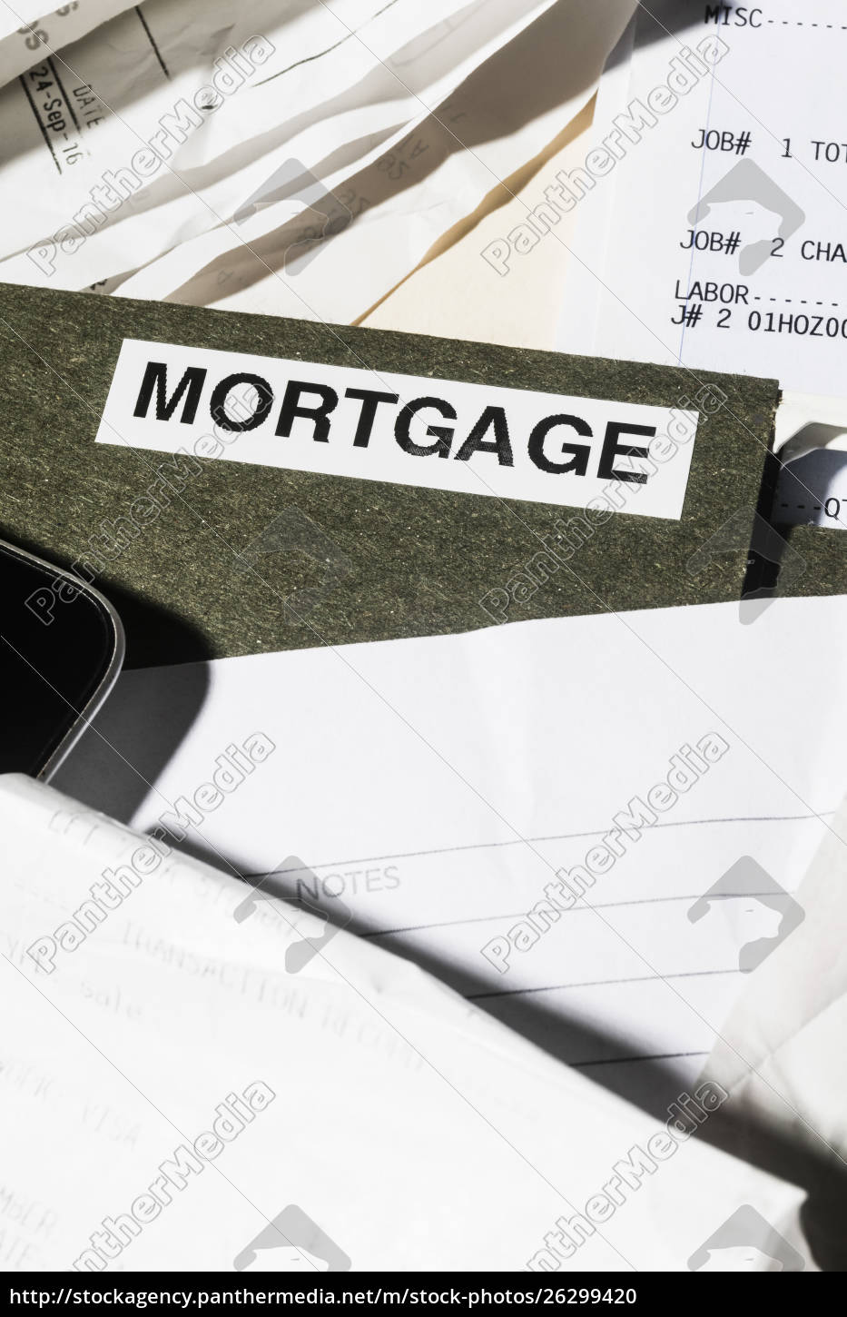 close, up, mortgage, file, and, finance - 26299420