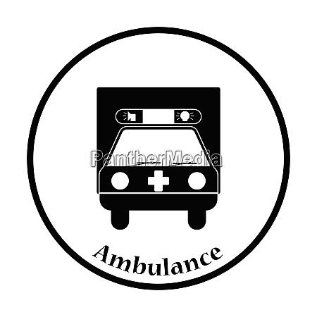 ambulance car icon thin circle design