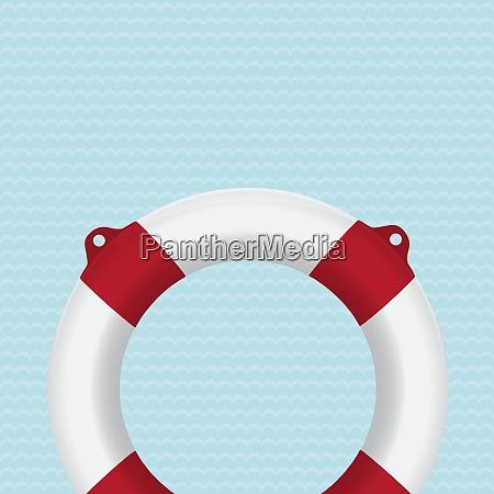 lifebuoy photo realistic vector illustration on