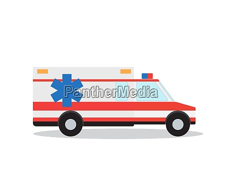 colored emergency ambulance with siren flat