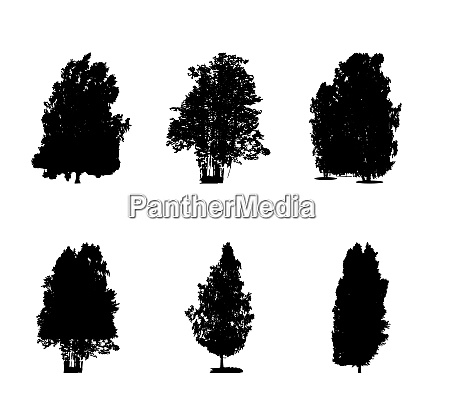 set of black and white silhouette