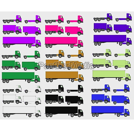 vector illustration set of vehicles cargo