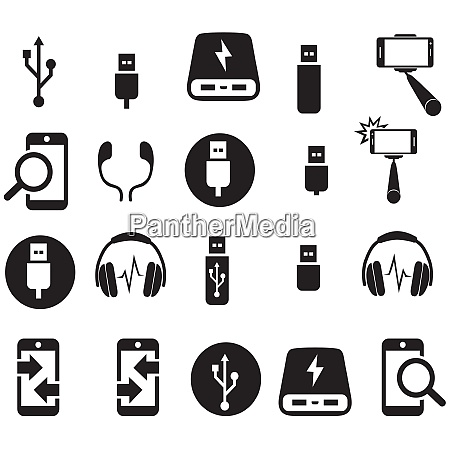 technological icon set