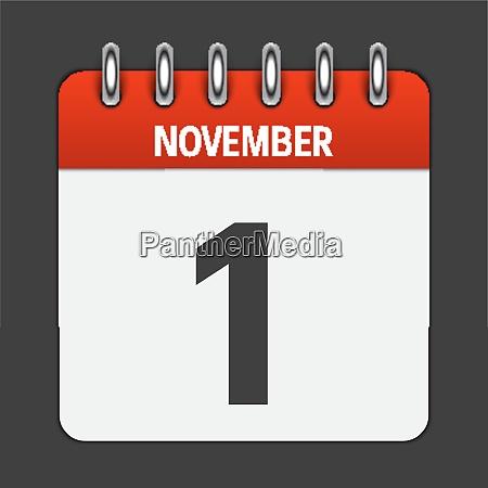 november 1 calendar daily icon