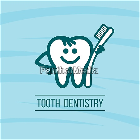 dentist tooth and toothbrush vector logo
