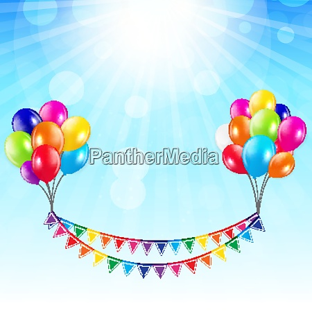 party background with flags and balloons
