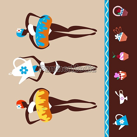 vector illustration girls with donuts confectionery