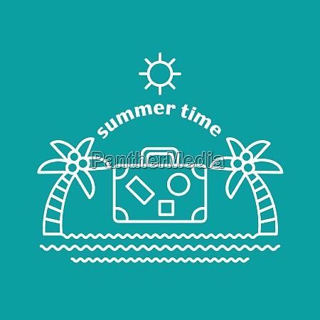 summer logo vector illustration alm tree