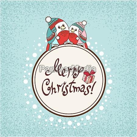 vector christmas card with cartoon hearts