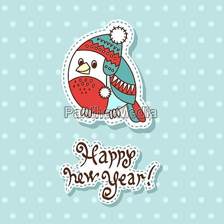 vector christmas card with cartoon bullfinch