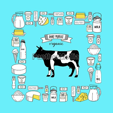 vector illustration cow and milk products