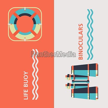 binoculars and a life buoy vector