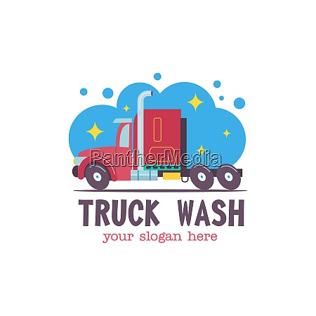 emblem truck car wash vector illustration